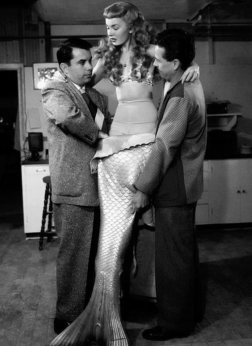 Ann Blyth into costume for Mr.Feabody and the Mermaid